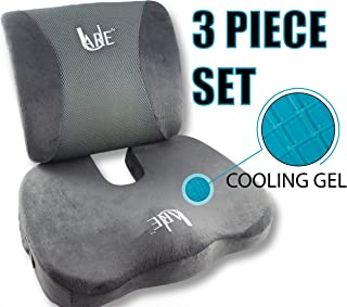 SET: Cool Gel Memory Foam Seat Cushion with Rain Cover and Lumbar Support Pillow for..
