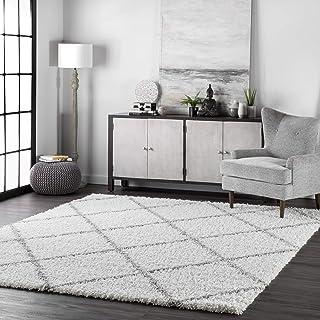 "nuLOOM Trellis Cozy Soft & Plush Shag Rug, 5' 3"" x 7' 6"", White"