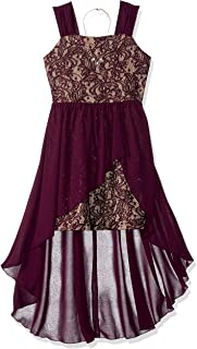 Amy Byer Girls' Big Lace and Velvet Dress with Chiffon Skirt Overlay