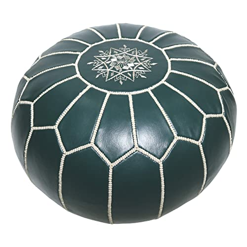 Marrakesh Gallery Moroccan Pouf Cover - Round & Large Ottoman Leather Cover Pouf - Bohemian Living Room Decor - Hassock & Ottoman Footstool - Unstuffed (Dark Green)