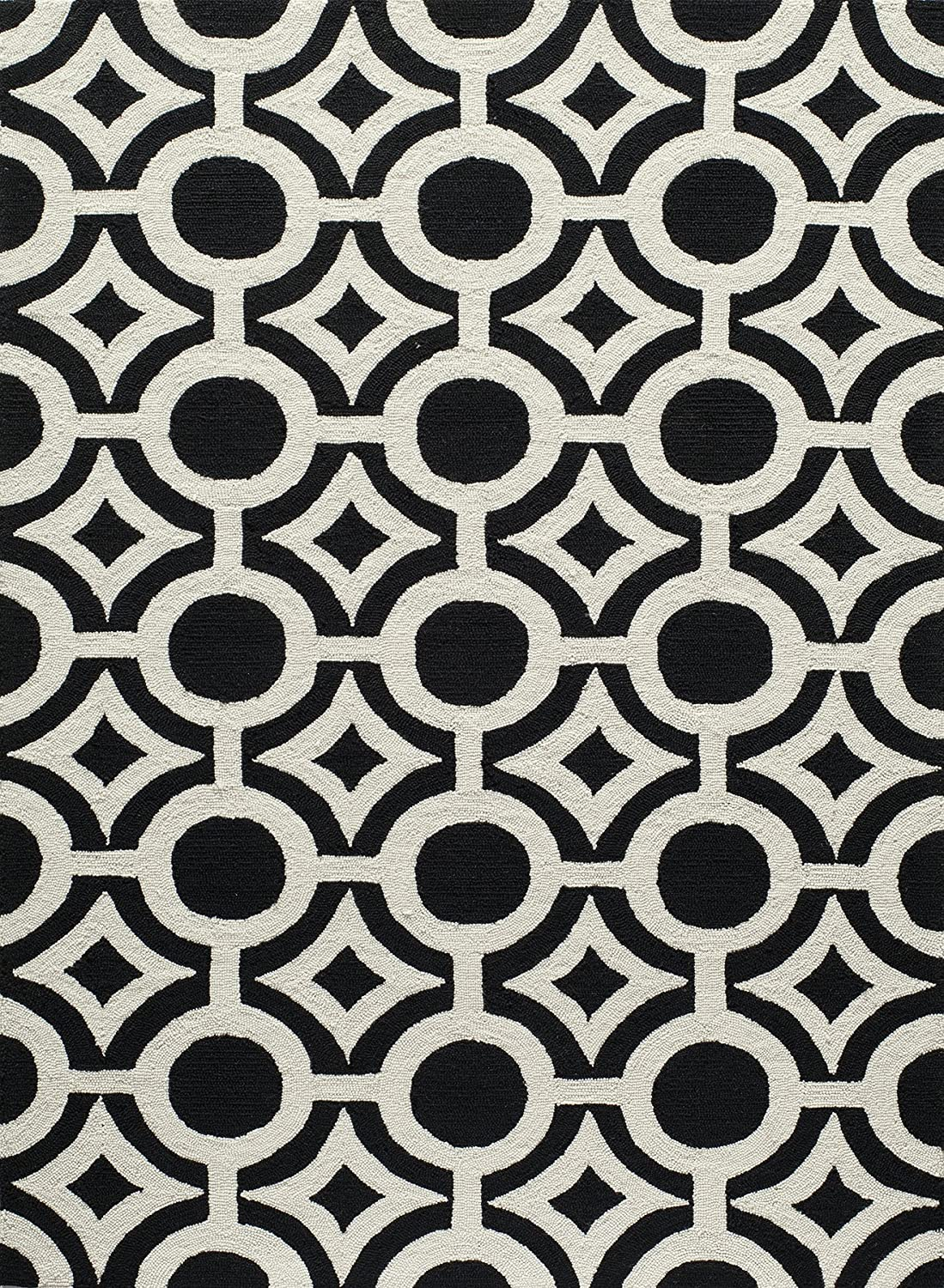 Momeni Rugs Geo Collection, Hand Hooked Contemporary Area Rug, 2' x 3', Black