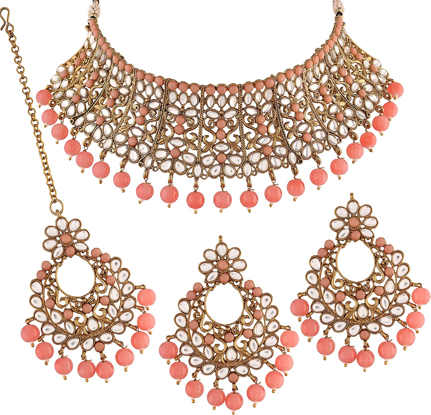 I Jewels 18k Gold Plated Indian Faux Daily bargain sale Max 73% OFF Cho Wedding Bollywood Beads