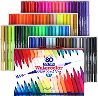 Pagos 80 Colors Dual Brush Pen Set Watercolor Art Markers with Two-Sided Tips, Bright and Vivid Colors, Acid Free 80 Different Shades