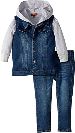 7 For All Mankind Kids - Vest/T-Shirt Hoodie/Jeans Set (Toddler)
