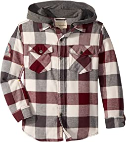 Lucky Brand Kids - Long Sleeve Flannel Shirt w/ Hood (Little Kids/Big Kids)