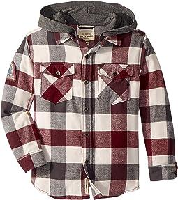 Long Sleeve Flannel Shirt w/ Hood (Little Kids/Big Kids)