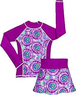grUVywear Girls Long Sleeve Rashguard Bikini Skirt Set Sun Protection Swimsuit, Hippy Peace   Medium / 7-8