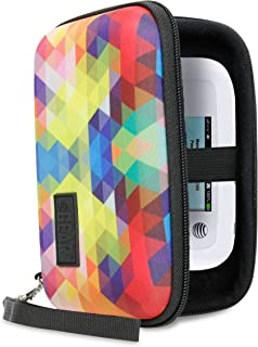 USA Gear Portable WiFi Hotspot for Travel Carrying Case with Wrist Strap - Compatible with 4G LTE Wi-Fi Mobile Hotspots from Verizon, Velocity, Skyroam Solis, GlocalMe, Netgear, and More - Geometric