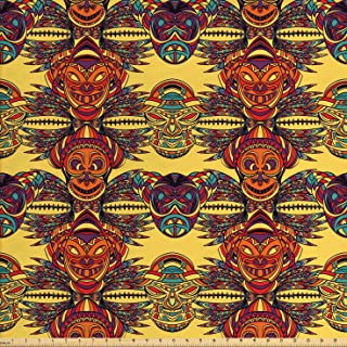 Lunarable Tribal Fabric by The Yard, Tribe Chef Mask with Colorful Leaves Details Artwork, Decorative Fabric for Upholstery and Home Accents, 1 Yard, Mustard Orange