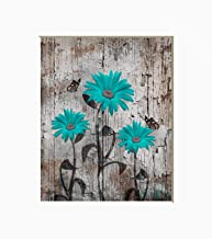 Teal Brown Wall Decor, Rustic Brown Teal Daisy Flowers Butterflies Home Decor Photography Artwork Matted Picture