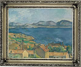 Historic Art Gallery The The Bay of Marseilles, Seen from L'Estaque 1885 by Paul Cezanne Framed Canvas Print, Size 11x14, Silver