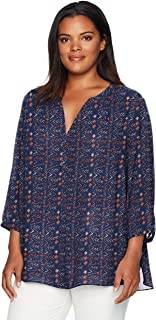 Women's Plus Size 3/4 Sleeve Pintuck Blouse