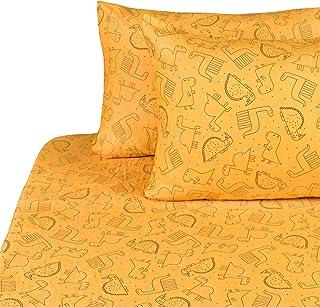 J-pinno Dinosaur Double Layer Muslin Cotton Bed Sheet Set Full, Flat Sheet & Fitted Sheet & Pillowcase Bedding Set (22, Full)