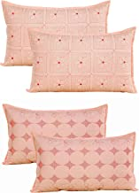 Rj Products Cotton Heavy Embroidery Pillow Covers Set of 4 (17 * 27 in) (Peach)