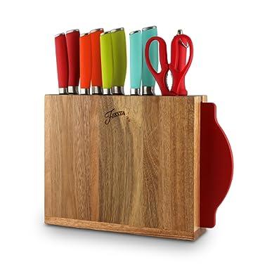 Fiesta Block and Cutting Board, 12-Piece Solid Cutlery Set