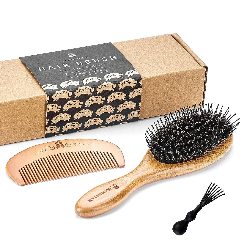 熟読アニメーション出身地ディタングルピン付き豚毛バンブーヘアブラシと木製櫛セット。この商品は髪の毛を艶やかにし、クリーニング用具も付属しています。