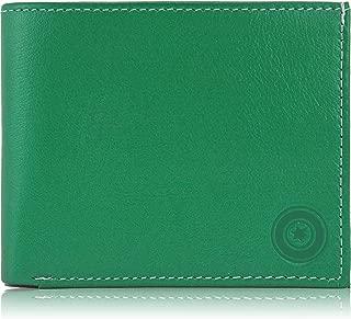 POLLSTAR Men's Bi-fold Leather Wallet with Flip ID (Green)