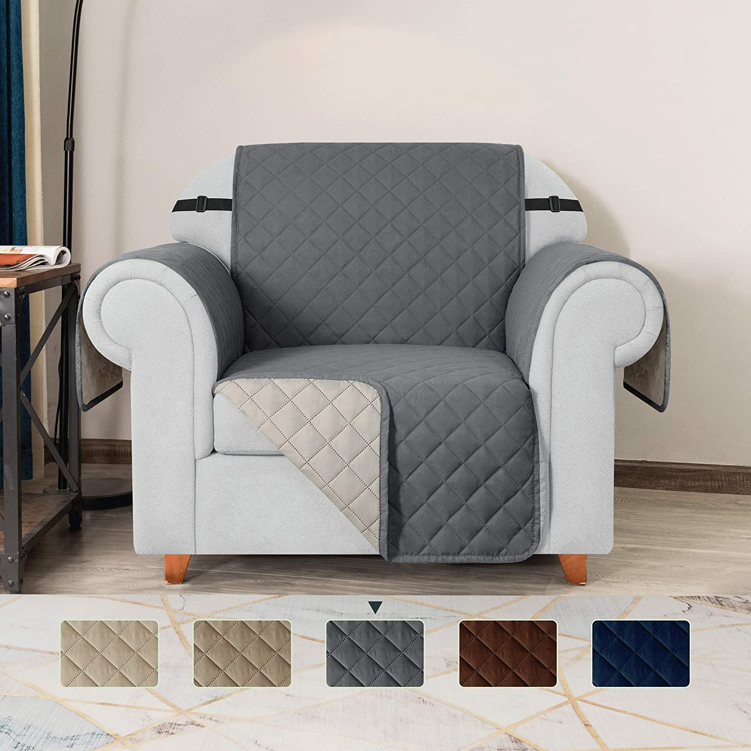 TOYABR Small Sofa Cover Reversible Couch Cover with Elastic Adjustable Strap Furniture Protector Fitted Seat Width Up to 23 Inch Sofa Slipcover Great for Home with Pets and Kids (Chair,Gray)