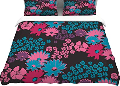 Kess InHouse Louise Machado Spring Colours Watercolor FloralFeatherweight Queen Duvet Cover 88 x 88,