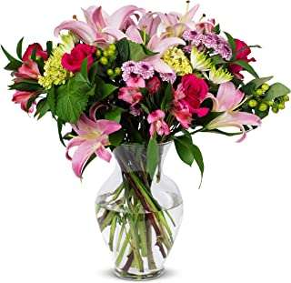 Benchmark Bouquets Blissful Blossoms Pink with Vase- Fresh Flowers, Overnight Shipping & Delivery, Farm Fresh Roses, Flower Bouquet, Pink Flowers