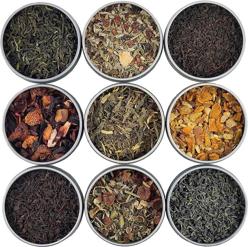 Heavenly Tea Leaves Organic Loose Leaf Tea Sampler Set 9 Assorted Loose Leaf Teas Tisanes