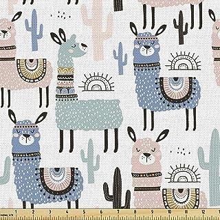 Ambesonne Llama Fabric by The Yard, Children Cartoon Style Hand Drawn South American Animals Alpacas and Llamas Design, De...