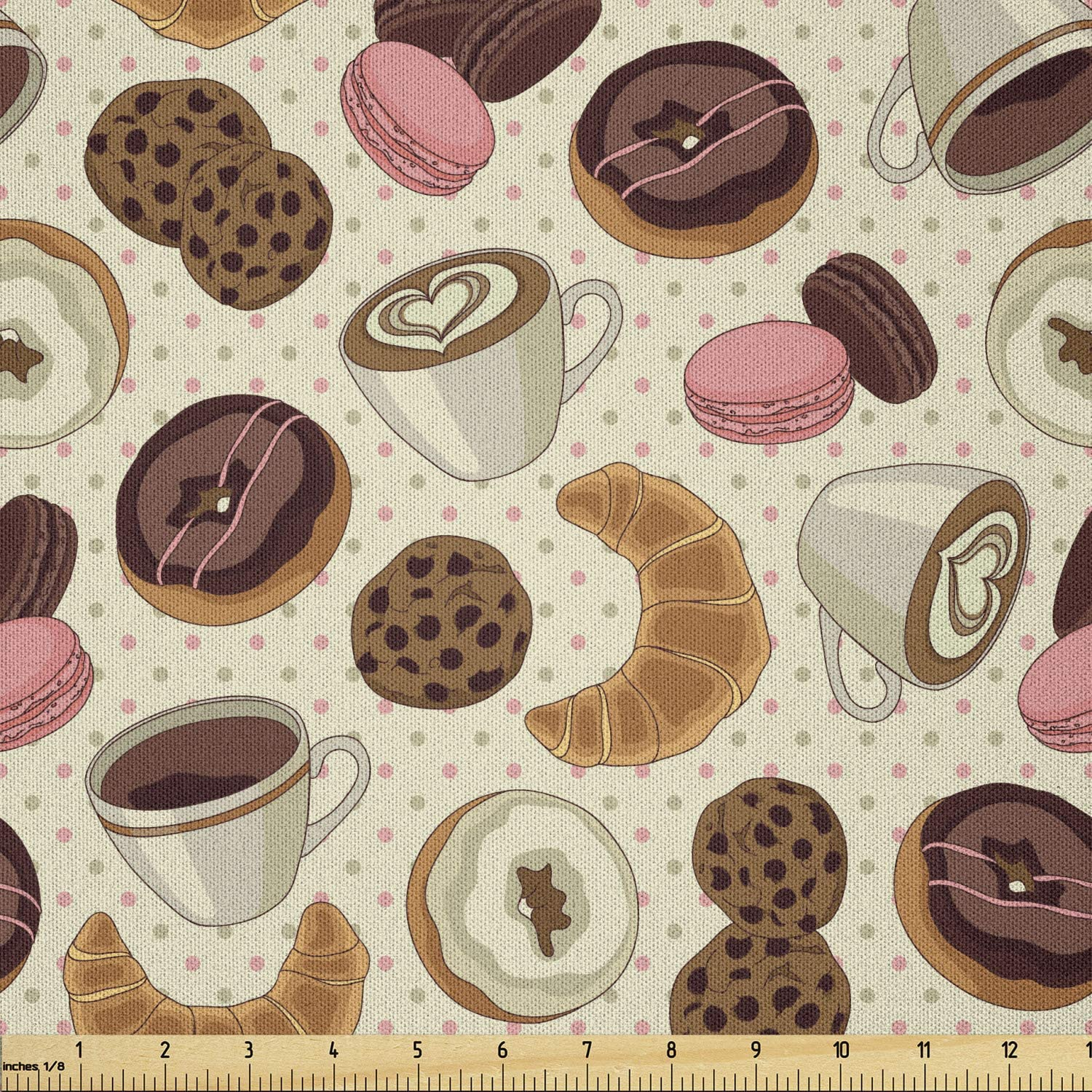 Product Ambesonne Dessert Fabric by The Pattern Patisserie Max 60% OFF C Theme Yard