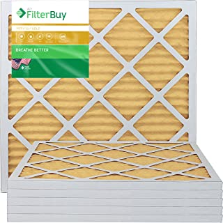 FilterBuy 20x22x1 MERV 11 Pleated AC Furnace Air Filter, (Pack of 6 Filters), 20x22x1 – Gold