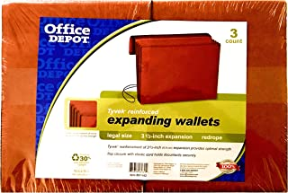 Office Depot Tyvek Expanding Wallet 3 1/2 Inch Expansion Legal Size