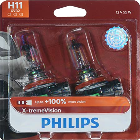 Philips Automotive Lighting H11 X-tremeVision Upgrade Headlight Bulb with up to 100% More Vision, white (12362XVB2) (Pack of 2)