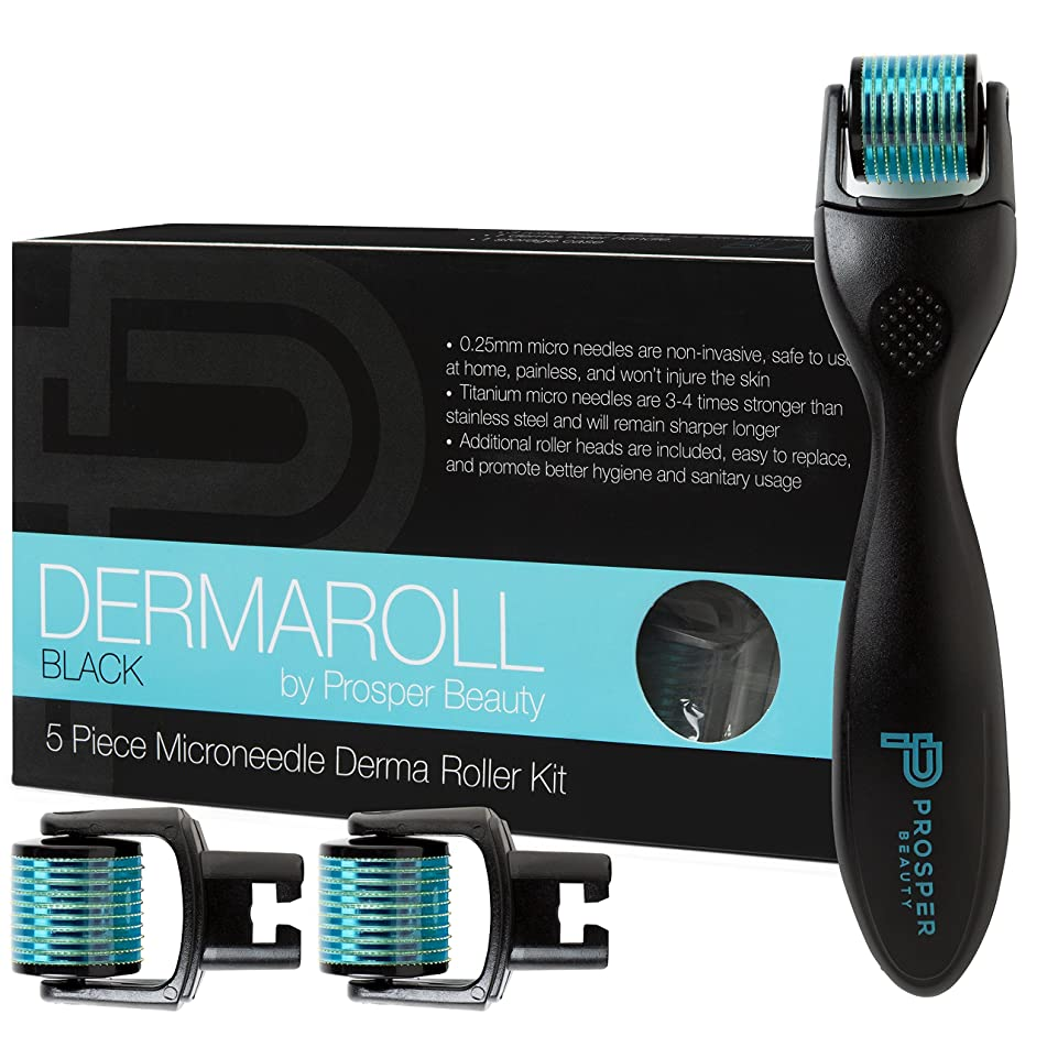 Derma Roller Microneedle 5 Piece Kit [DERMAROLL BLACK by Prosper Beauty] Face Roller with 3 Replacement Heads Exfoliation Microdermabrasion Micro Skin Care Tool Dermaplaning Dermapen Microneedling
