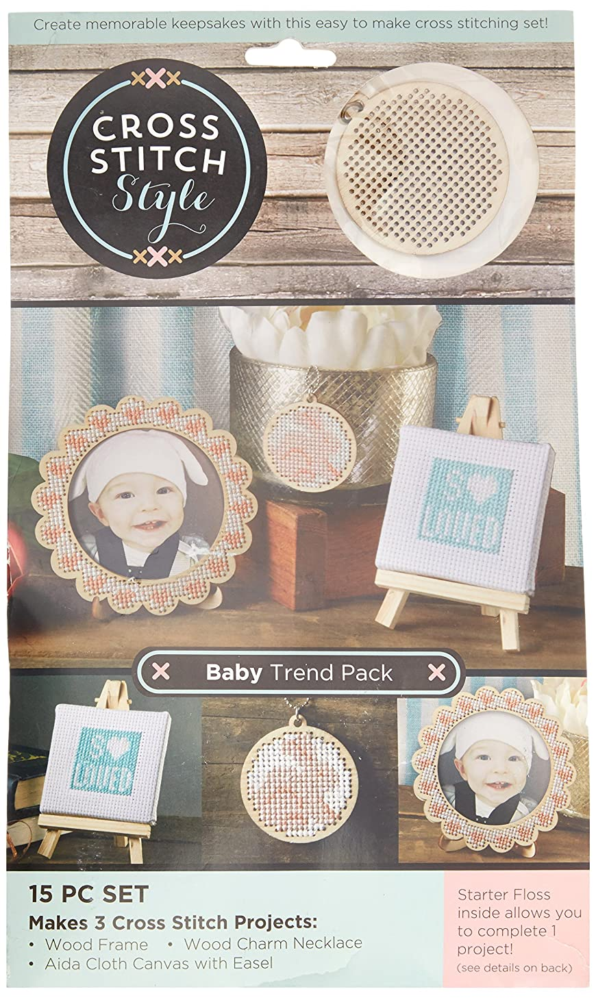 3 Birds Wood Baby Trend Pack Punched for Cross Stitch Kit