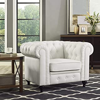 Naomi Home Emery Chesterfield Accent Chair White