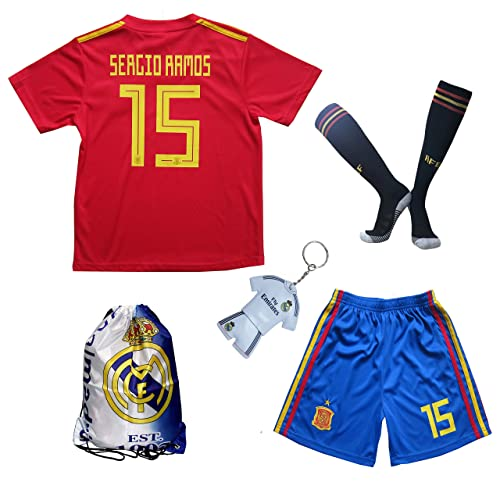 b5deac205 KID BOX 2018 Spain SERGIO RAMOS  15 Home Soccer Futbol Football Kids Jersey    Short