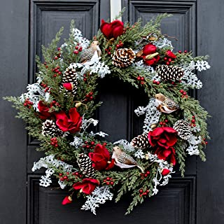 Darby Creek Trading Burgundy Magnolia, Partridge Bird, Juniper & Snowy Pinecone Christmas Holiday Wreath