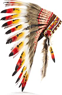 Boho Basics Native American Indian Inspired Feather Headdress Orange Red & White (Length: Small)