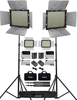 Osaka Bi-Color Dimmable LED Video Light OS 528 Slim for DSLR Camera YouTube Video Shooting with 2 Pc Combo kit: 2 Battery 8000 mAh; 2 Fast Charger; 2 AC Adapter; 2 Light Stand; 2 LED Bag; 1 Stand Bag