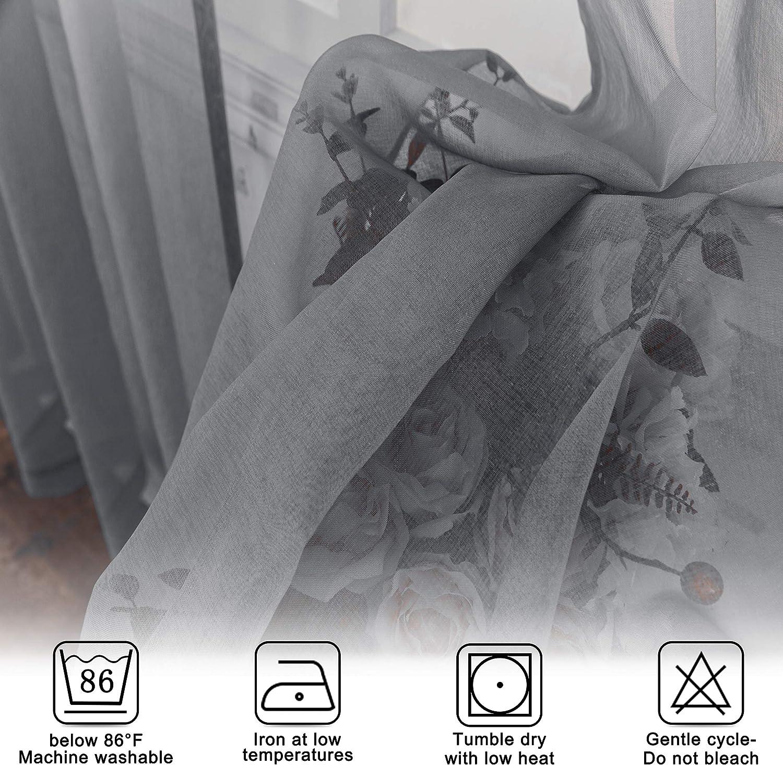 Lot de 2 Panneaux Salon et Fen/êtres Rideau Voile Ombre Semi-Transparent a Oeillets FLOWEROOM Rideaux Voilage en Faux Lin D/égrad/é pour Chambre Violet Voilages Gradient 107 x 245 cm