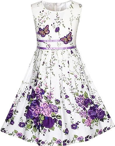 Sunny Fashion Robe Fille Pourpre Rose Fleur Double Nœud Papillon Partie Enfants Robe d'été 4-12 Ans