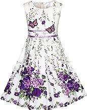 Sunny Fashion Vestido para niña Morado Rosa Flor Doble Corb