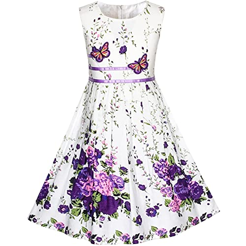 0f8bc03282e9 Sunny Fashion Girls Dress Rose Flower Double Bow Tie Party Sundress