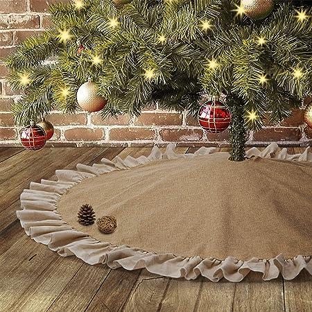 Holiday Ornaments Xmas Tree Skirt for Christmas Tree Decorations Christmas Tree Skirt 48 Inches Rustic Tree Skirt Large Burlap Jute Plain with Hand-Sewn White Lace Decor LASPERAL Burlap Tree Skirt