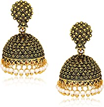 MEENAZ Latest Traditional Stylish Oxodised Gold Pearl Jhumkas Jhumka Jhumki Earrings for Women Girls