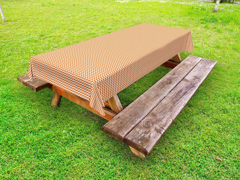 Lunarable Orange Stripe Outdoor Colored Monochr 2021 model Warm Tablecloth Direct sale of manufacturer