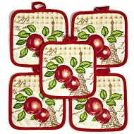 """Red Apple (Ten) 10 Pack Pot Holders 6.5"""" Square Solid Color Everyday Quality Kitchen Cooking Chef..."""