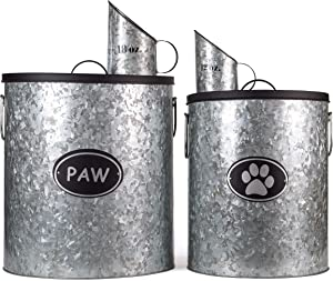 Rustic Silver Dog Pet Food Storage Set | Large Canister fits up to 50lbs, Medium fits up to 30lbs with Matching Scoop | Innovative Design for Pet Food Storage | No More Plastic Containers