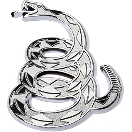 Gadsden Don't Tread On Me Rattlesnake Chrome Plated Car Emblem With Rust-Proof ABS Plastic Core
