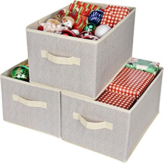 GRANNY SAYS Storage Basket for Shelves, Fabric Closet Storage Bins Cube Box with Handle Home Office Fabric Organizer, Large, Beige, 3-Pack