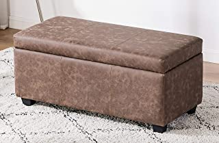 Legend Furniture Ottoman Bench With Large Storage Space and Safety Hinge for living room/bedroom Sofas, brown(coffee)
