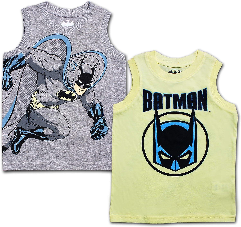 BATMAN 2 Pack Boy's Sleeveless Tee Shirt Set, Superhero Printed Undershirt for Toddler Kids